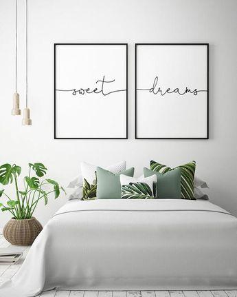 Above Bed Art – Sweet Dreams – Printable Art (Set of 2), Bedroom Decor, Scandinavian Art, Bedroom Wall Art Posters **Instant Download**