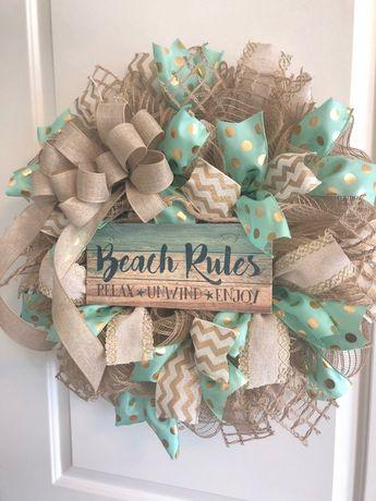 Beach Wreath-Beach House Wreath-Mint, Gold and Linen