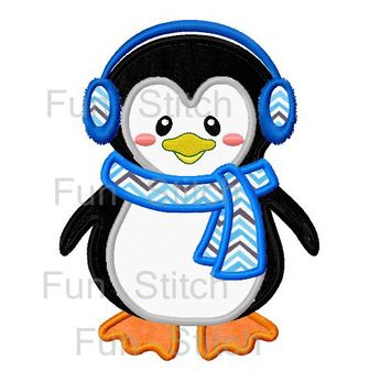 Penguin applique machine embroidery design by FunStitch on Etsy, $2.79
