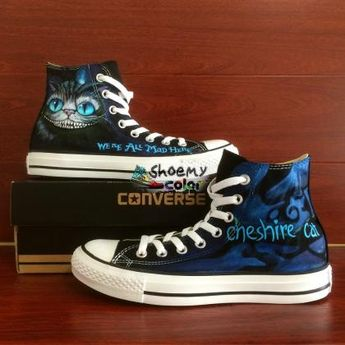 a687b73bd423 Hand Painted Shoes Black Converse Cheshire Cat High Top Canvas Sneaker