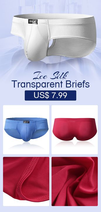 Sexy Super Thin Ice Silk Underwear Pure Color Transparent Breathable Elastic Pouch Brief #mens #underwear #comfy