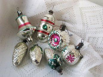 Set of  Soviet Christmas tree decoration, silver  Mercury Glass Christmas Glass Ornament - Made in U