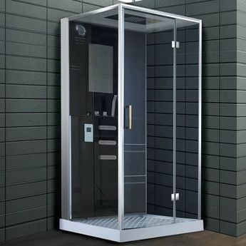"40"" x 82.5"" Square Hinged Steam Shower with Base Included"