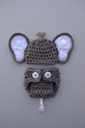 239dcd840 Newborn Baby Crochet Elephant Hat and Diaper Cover Set Newborn Boy Photo Outfit  Baby Boy Baby