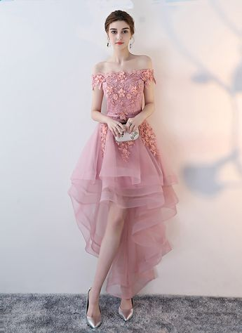 Pink tulle off shoulder high low homecoming dress, party dress with lace applique from Girlsprom