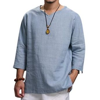Autumn New 2018 Retro Mens T Shirts V-neck Folded Sleeve Plain Solid Loose  Casual cd53e88243