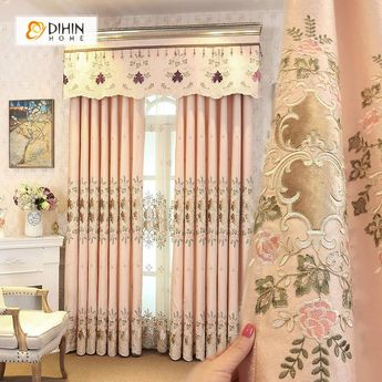 DIHIN HOME Luxurious Embroidered Valance ,Blackout Curtains Grommet Window Curtain for Living Room ,52x84-inch,1 Panel