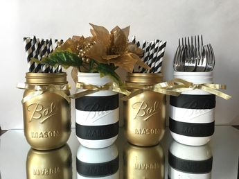 Black and White Striped and Gold Metallic Painted Mason Jars, Wedding Decorations Gold, Shabby Chic, Bachelorette Party, Engagement Party