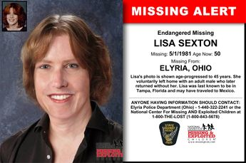LISA SEXTON, Age Now: 50, Missing: 05/01/1981. Missing From ELYRIA, OH. ANYONE HAVING INFORMATION SHOULD CONTACT: Elyria Police Department (Ohio) - 1-440-322-2241.