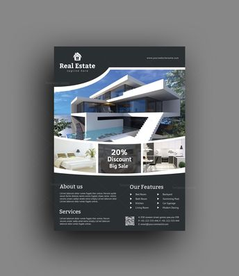 Sleek Real Estate Flyer Design Template - Graphic Templates