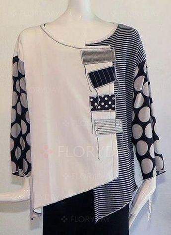 Blouses - $32.99 - Plus Size Color Block Casual Round Neckline Long Sleeve Blouses (1645386170)