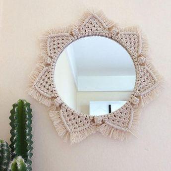 Macrame wall mirror, boho decor handmade statement piece