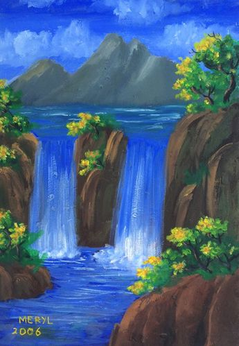 Serene Waterfall - Lierre Ceva - Paintings & Prints Landscapes & Nature Waterfalls - ArtPal