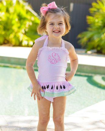 842cd80253 Watermelon Ruffle Pink Seersucker Swim Suit