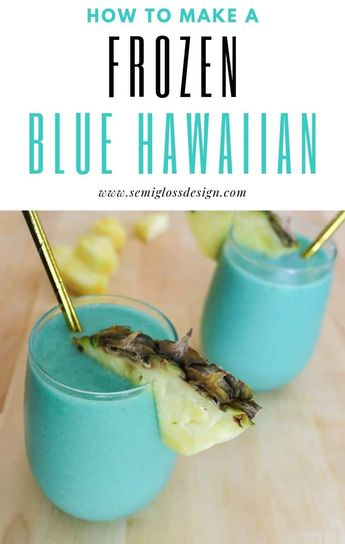 This frozen blue Hawaiian cocktail is a fun twist on pina coladas and is the perfect drink for serving at a summer party! #semiglossdesign #cocktails #drinkrecipes #adultdrinks #luau