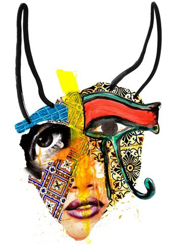 MAJESTY Face #majesty #face #fashion #print #design #art #collage #paint #ink #drawing #tiles #decoration #royal #rich #exotic #makeup #beauty #tribal