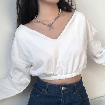 4 COLORS|Loose double V high waist elastic long sleeve sweater