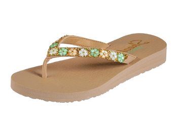 03bb3fa77ff9 Skechers Meditation Daisy Delight Dark Natural Flower Comfort Flip Flops  Sandals
