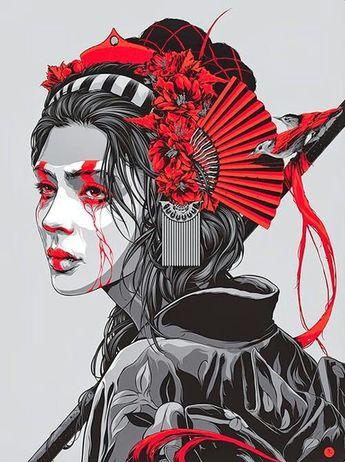 Ken Taylor art, vector, graphic design, black and white, woman, samurai