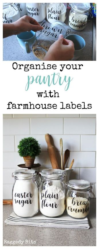 Using some Ikea Korken Jars and some labels see how to Organise your Pantry Using Farmhouse Labels to make things easier in your kitchen | www.raggedy-bits.com #HomeDIY