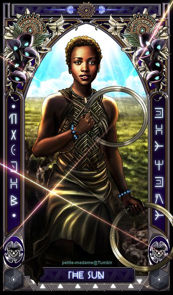 """petite-madame:  """" Black Panther Tarot (Part 1) - 2018  My take on The Black Panther movie characters. I'm gonna take a break then work on the rest of the characters soon. ^^  """""""