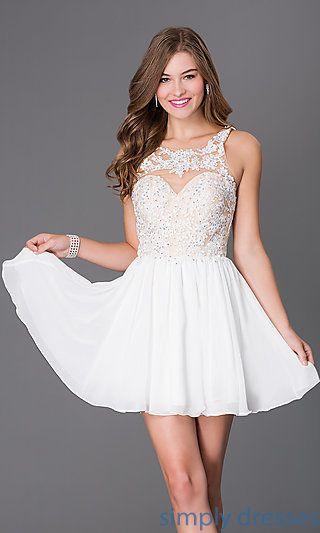 8615987cd78 Short Sleeveless Dress with Beaded Lace Bodice