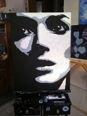 Black and white acrylic painting, Winona Ryder