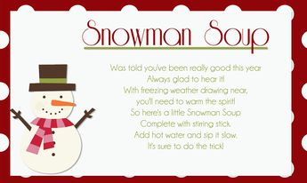 picture relating to Snowman Soup Printable Tag named Snowman Soup and absolutely free printable labels