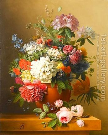 Arnoldus Bloemers:A still life of peonies, roses, honeysuckle, poppies, a crown imperial, rhododendrons and other flowers in a terracotta urn on a ledge