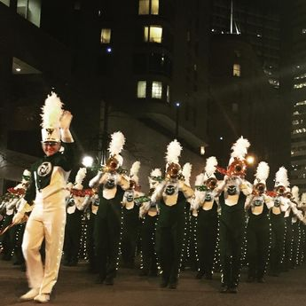CSU Marching Band and Cam the Ram led the Parade of Lights in Downtown Denver. GO RAMS!