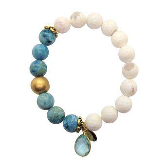 White Agate Hemimorphite with Blue Topaz Charm Bracelet