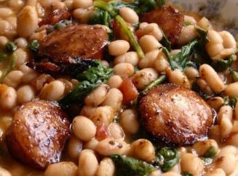 White Beans with Spinach & Sausage
