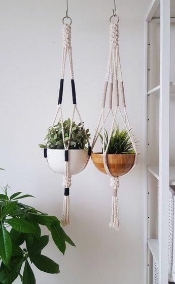 Macrame Plant Hanger, Hanging Planter, Color Block, Macrame Plant Holder