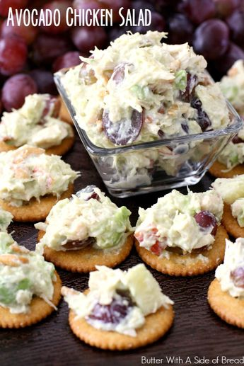 AVOCADO CHICKEN SALAD topped RITZ® CRACKERS - Butter with a Side of Bread