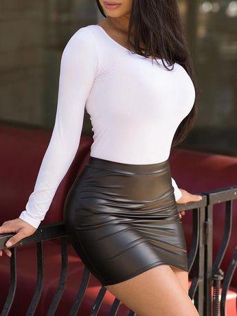 High Waist Slinky Mini PU Skirt