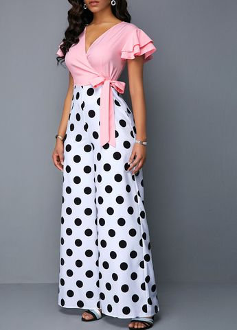Short Butterfly Sleeve Polka Dot Print Jumpsuit | Rosewe.com - USD $33.43