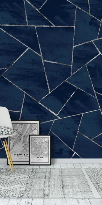 Blue Ink Silver Geometric 1 Wall Mural / Wallpaper Abstract