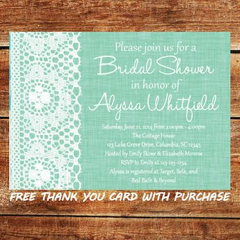 mint green and lace bridal shower invitation printable wedding shower invite mint and lace