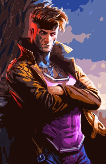 Gambit Xmen Illustration #6 - Marvel Comicbook Superhero Pop Art Home Decor in Poster Print or Canvas