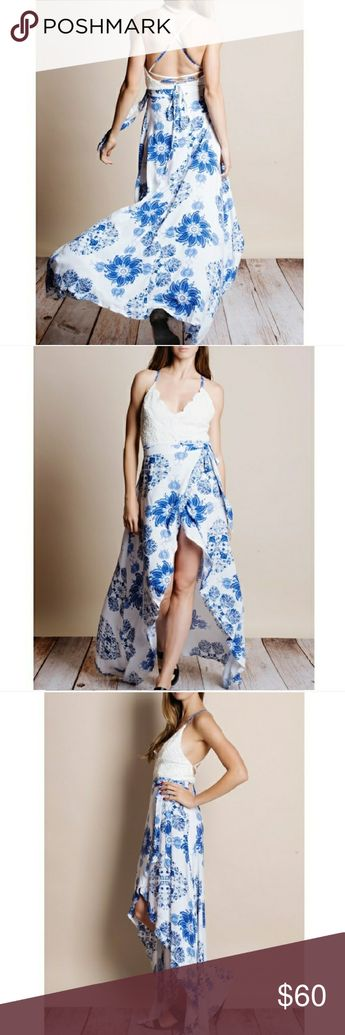6fe92bcb832 Backless tulip dress Blue flower print Wrap skirt Crochet white top Photos  from herpallax Bare Anthology