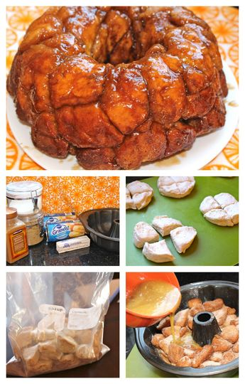 Whatcha Need: 1/2 cup sugar 2 cans Pillsbury Grands homestyle biscuits 1 cup tightly packed brown sugar 1 tablespoon ground cinnamon 1 stick butter, melted Whatcha Do: 1. Heat the oven to 325°F. Lightly grease 12-cup fluted tube cake pan. 2. Combine the cinnamon and sugar in a large Ziploc bag. 3. Using a pizza cutter, cut each separated biscuit into quarters. Place them in the bag and shake to fully coat. 4. Arrange the biscuit pieces in the pan. Mix the butter and brown sugar, then pour it...