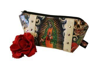 Day of the Dead Makeup Bag - Vinyl Pouch - Sparkle Cosmetic Bag - Dia De Los Muertos - Rockabilly Pu