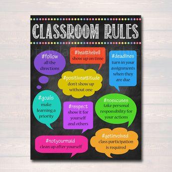 Hashtag Classroom Rules Poster, Classroom Policies Poster, Classroom Rules, Educational Motivational Poster, Class Policies INSTANT DOWNLOAD