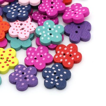 Amanaote Horn Shape Painted Wooden Button 45mm In Length with 2 Holes for Craft Sewing DIY Pack of 20