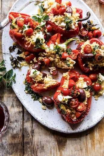 Greek Orzo Stuffed Red Peppers with Lemony Basil Tomatoes