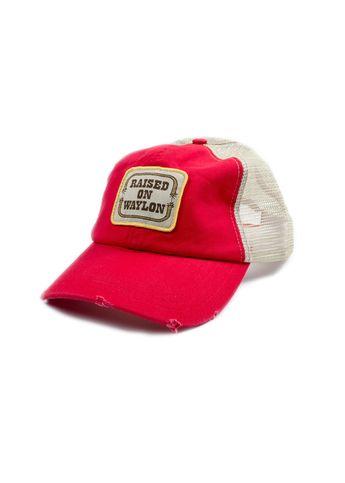 994c9e5205b Raised on Waylon Jennings Distressed Red Trucker Hat