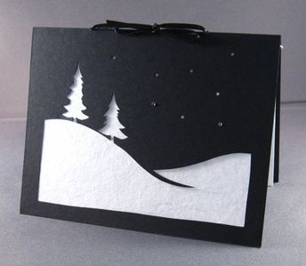 Holiday Card Christmas Solstice WINTER SNOW SCENE Modern Silhouette Paper Cut Black & White