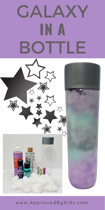 How to make a Nebula in a Bottle! This Galaxy in a Bottle craft is great for kids of all ages. Discovery bottle (also know as sensory bottles) are great for kids and this step-by-step tutorial shows you how to make your own STEM nebula in a bottle (works in a jar too!).