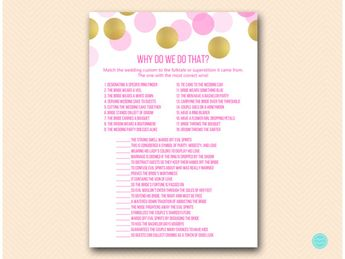 hot pink and gold bridal shower games why do we do that wedding tradition