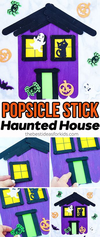 Popsicle Stick Haunted House Craft - this Halloween craft for kids is so fun to make! Kids can color and decorate their haunted house however they'd like. #bestideasforkids #kidscrafts #kidsactivities #halloween #halloweencraft #craft #diy #halloweenkids #preschool #kidsart